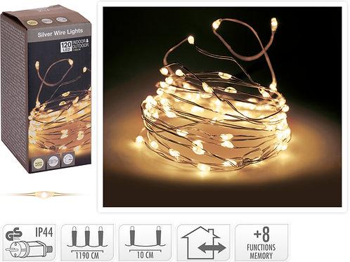 HILO PLATA 120 MICRO LEDS 8 FUNCIONES