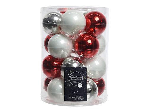 Pack 20 bolas blanco rojo mix
