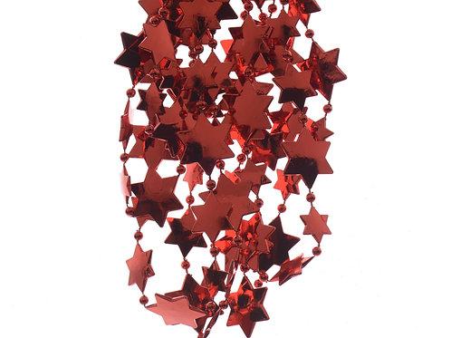 GUIRNALDA ESTRELLITAS DE PLASTICO ROJAS DIAM. 2.6X270 CM