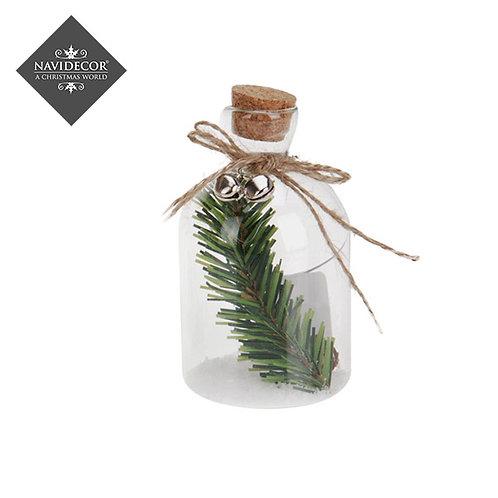 Botella de cristal para colgar con ramas