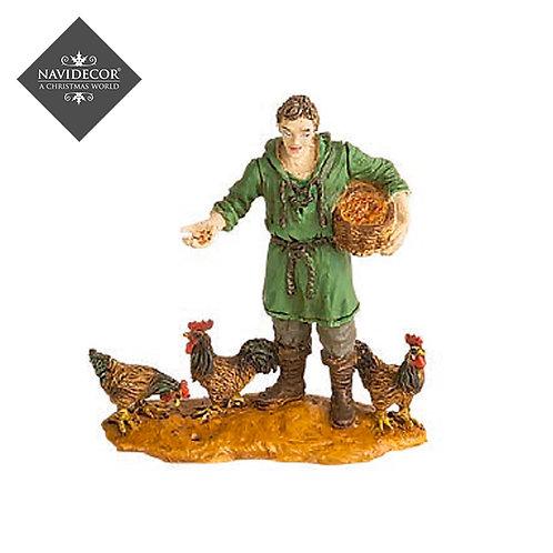 Oliver pastor con gallinas