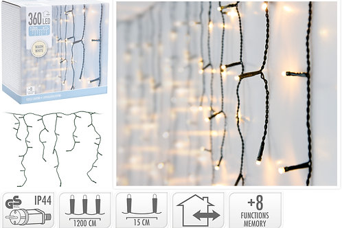 CORTINA CARAMBANO 360 LEDS INTERIOR LUZ CALIDA