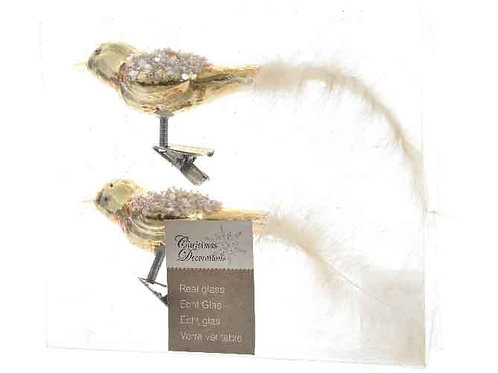 Pack 2 pájaros cristal gold