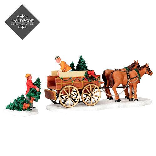 Carro de árboles de navidad
