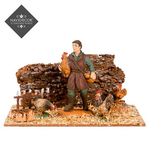 Escena pastor con gallines Oliver 8cm