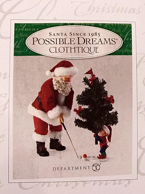Papa Noel Jugando a Golf con árbol