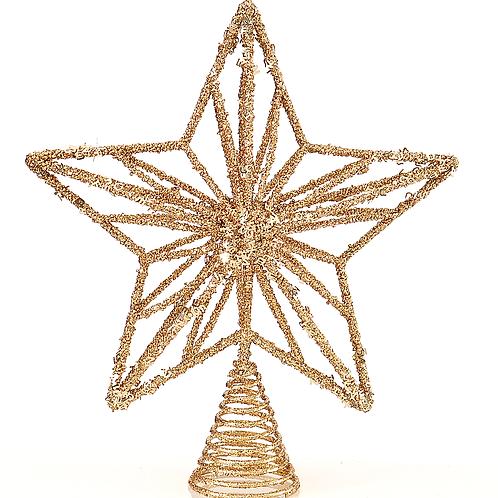 Estrella metal para punta del árbol oro 32cm