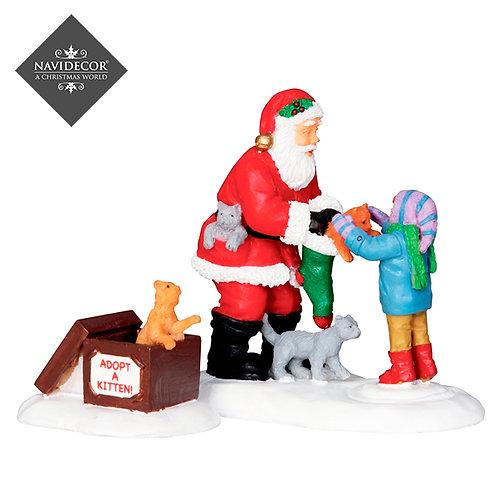 Santa Claus regalando gatos