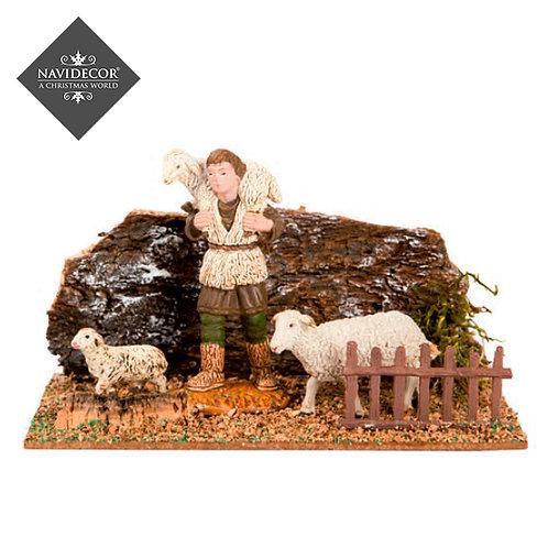 Escena pastor con ovejas Oliver 8cm