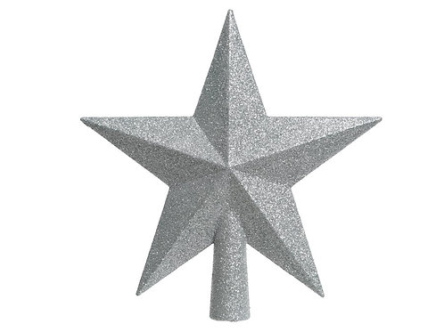 Estrella punta árbol plateada