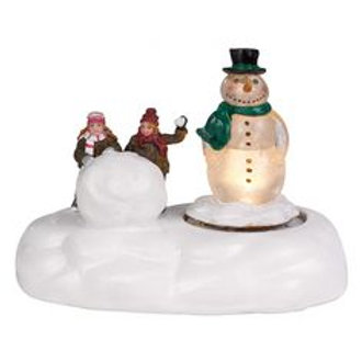 Lighted snowman with children