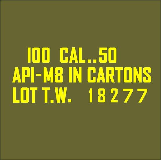 50 CALIBER AMMO BOX API-M8 Cartons  Stencil