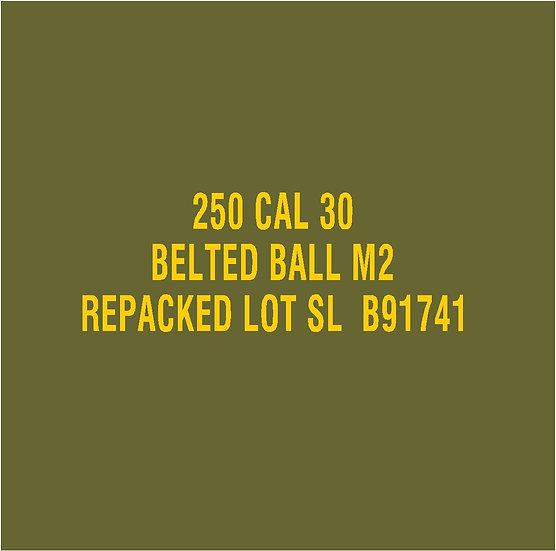 30 CALIBER AMMO BOX BALL M2 Repacked  Stencil