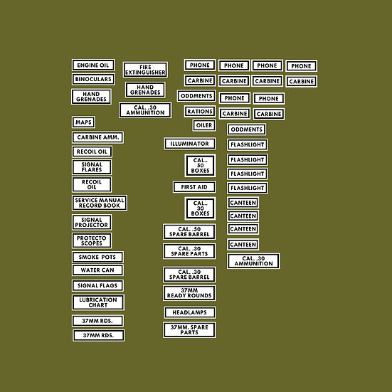 M8 Greyhound Internal Decal Set