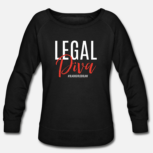 IN STOCK/ON SALE (1) MEDIUM Legal Diva Wideneck Crewneck Sweatshirt