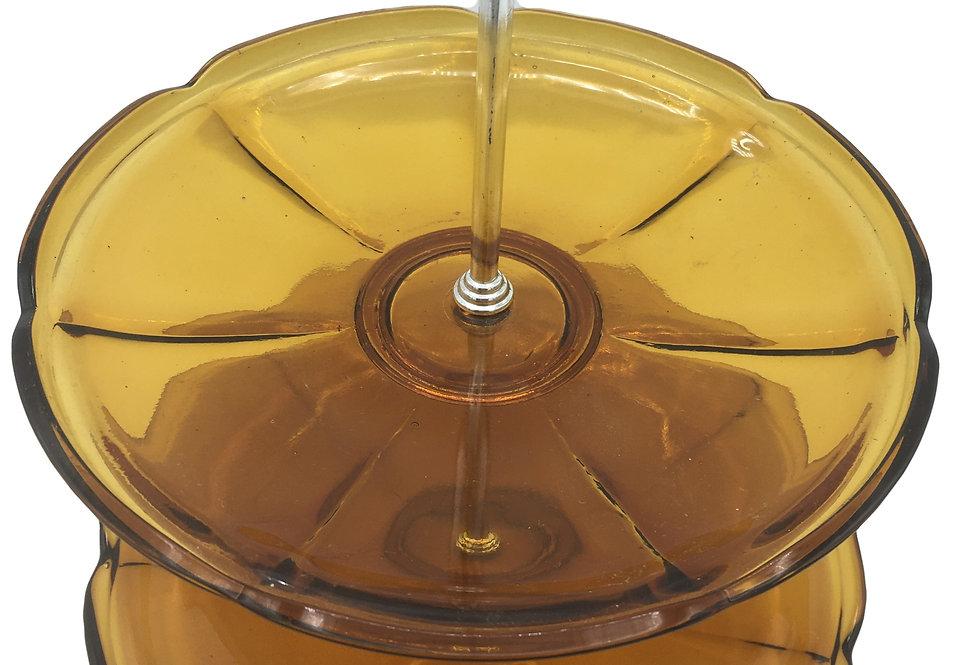 Art Deco Amber Glass Cake Stand