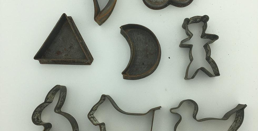 Antique Primitive Tin BISCUIT CUTTERS