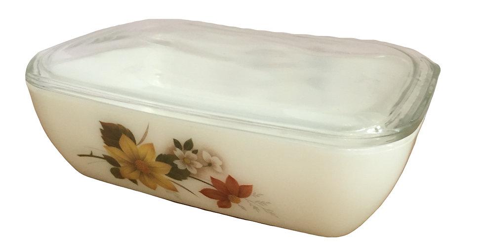Vintage 1970s Pyrex JAJ Autumn Glory Butter Dish & Lid
