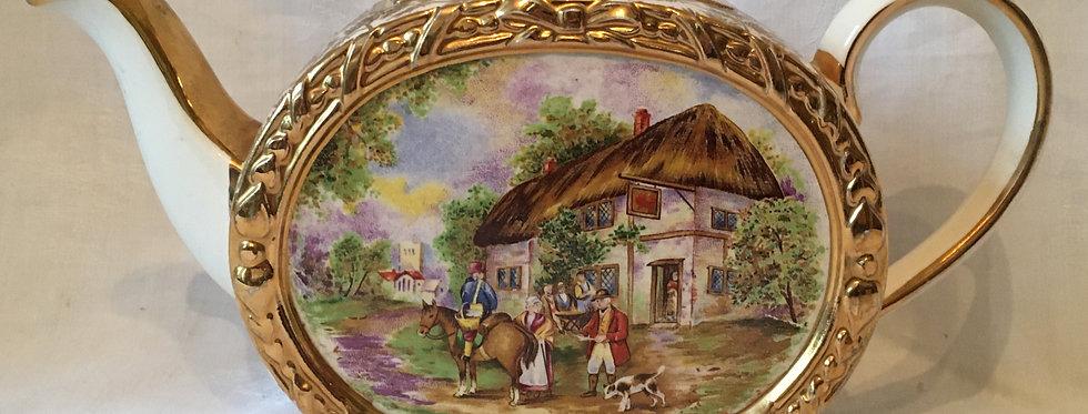Sadler Barrell Teapot - Thatched Cottage