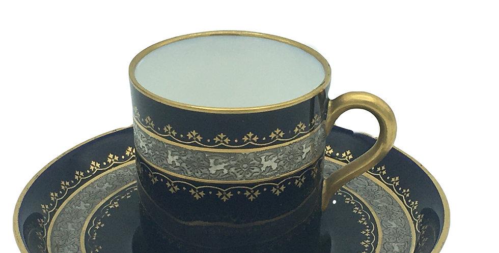 Royal Worcester Cobalt Blue & Gold Trim Demitasse Cup & Saucer