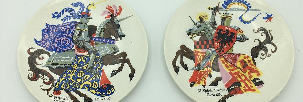 2 x Poole Plates - Knights