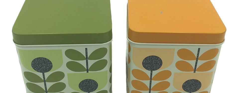 Pair ORLA KIELY  Tin Canister Green & Orange Sparkly Tulip Stem Green