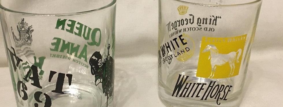 Vintage Advertising King John IV Queen Anne & Haig SCOTCH WHISKEY Glass Tumbler