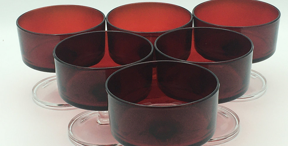 Vintage Retro Cranberry Red Luminarc French Glass Dessert Dishes