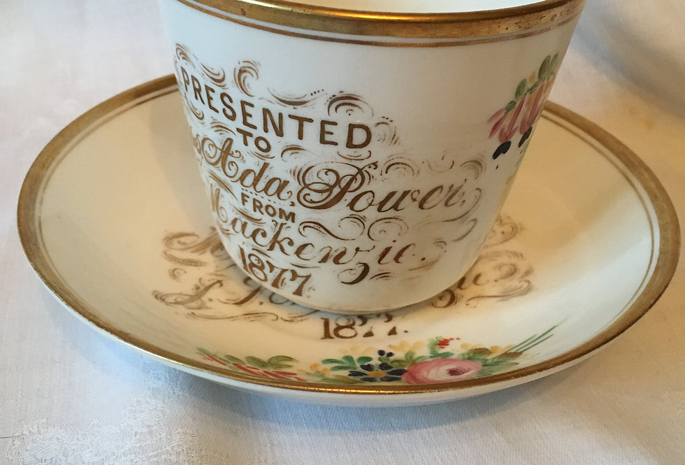 Victorian Presentation Cup & Saucer Hand painted Gilt 1877