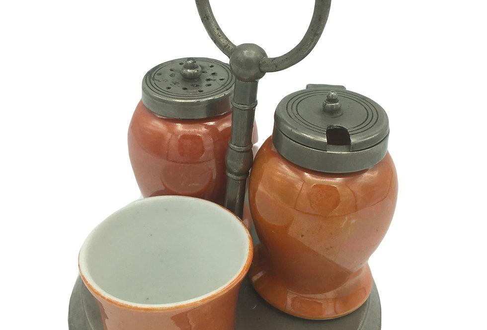 19th Century Orange LUSTRE Condiment Set & Stand