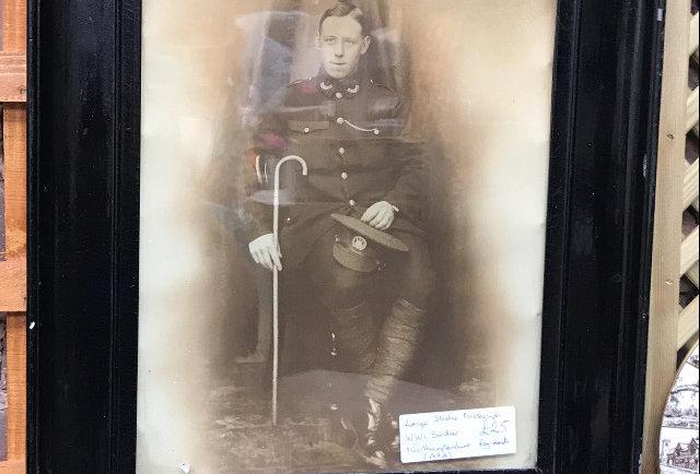 Large Studio Portrait of WW1 Solider