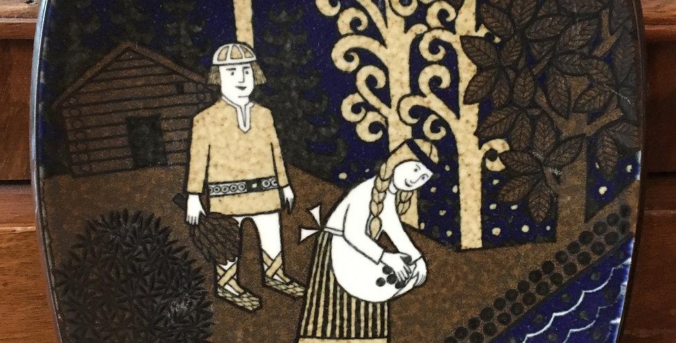 Arabia Finland Annual Plate 1990  - Kalevala Scandinavian Folk Art