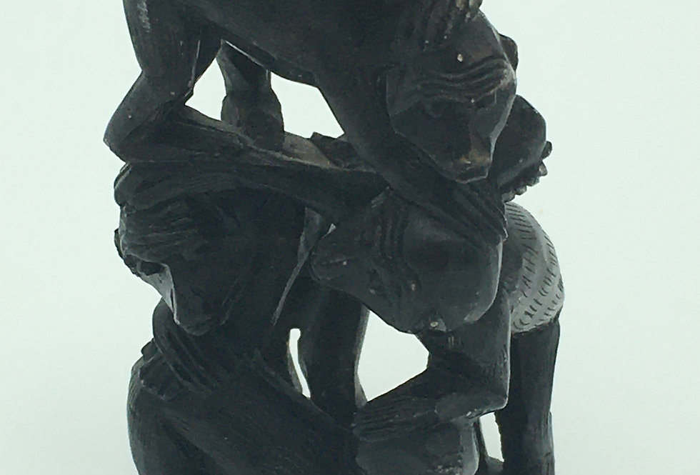 Vintage Soapstone Okimono/Statue of five Monkeys CHINESE Ornament