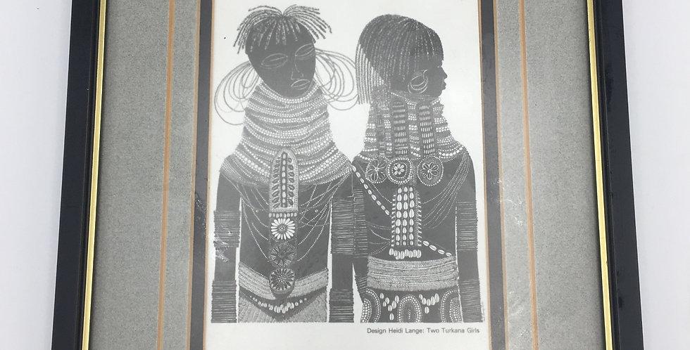 Framed Heidi Lange  Batik MASEI Silhouette Two Turkana Girls Print