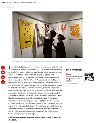 Article Vosges Matin - Exposition Turbulences