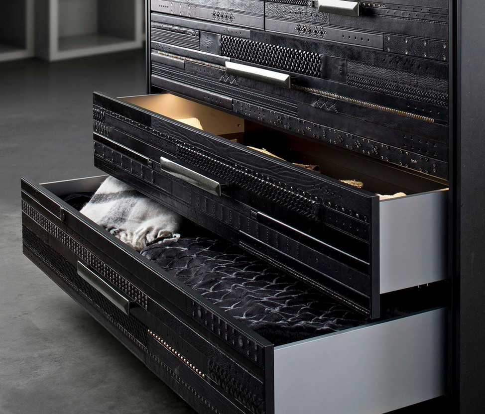 Island With Leather Drawer Fronts