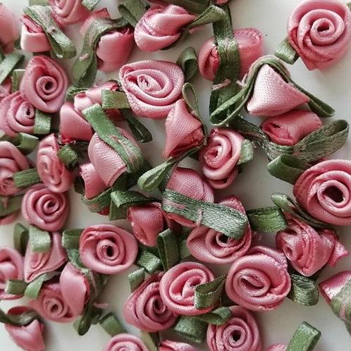 Salmon Pink Ribbon Roses - Small