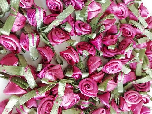 Dusky Pink Ribbon Roses - Small