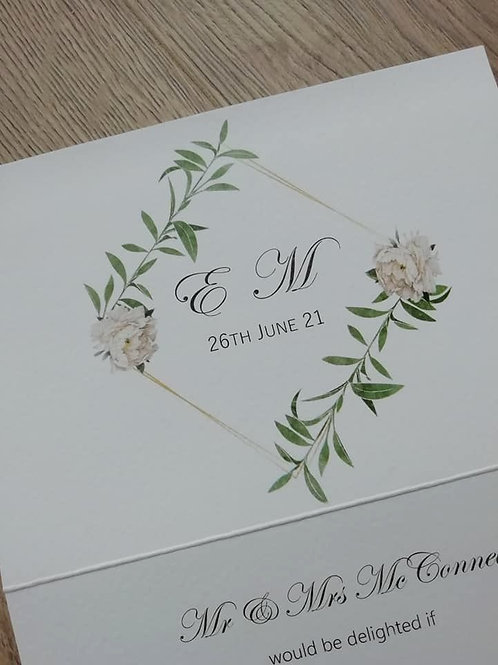 White Peony & Foliage Tri Fold Invitation - Set of 5