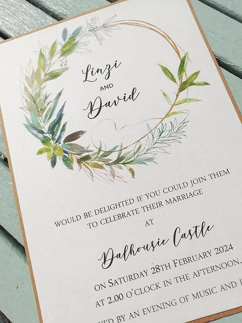 Foliage Wreath Wedding Invitation - INV26042101 -  Minimum Order 10