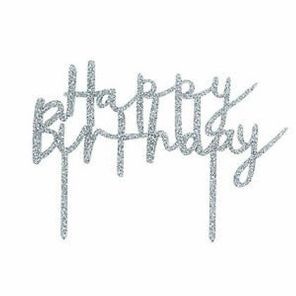Silver Glitter Happy Birthday Acrylic Cake Top - Club Green