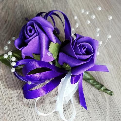 Purple Rose Corsage or Flower Spray - Leaves, Purple Ribbon, Pearls