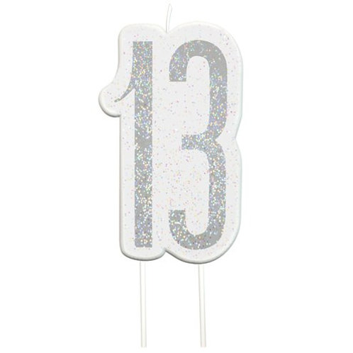 13 Candle -  Silver Glitter Number Candle