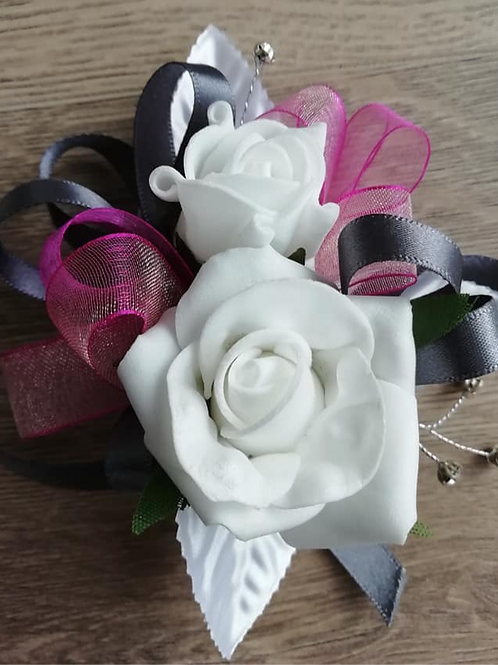 White Corsage / Flower Spray, Pink and Silver Ribbon with Diamantes
