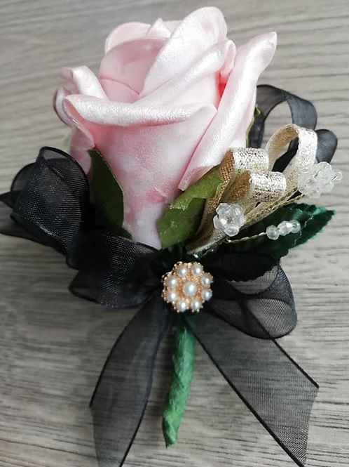 Pearl Pink Rose Corsage / Flower Spray with Black and Gold