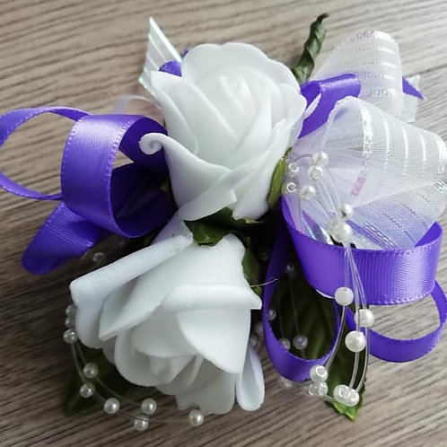 Flower Spray Wedding Corsage - White, Purple and Pearl loops