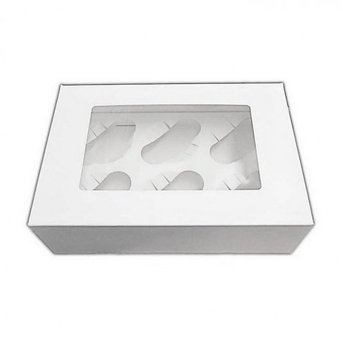 Pack of 25 Cupcake Boxes  - 6 Hole Window Cupcake Boxes