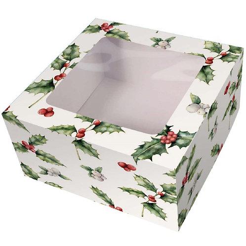 "Cake Box - Christmas Vintage Holly - 6"", 8"", 10"""