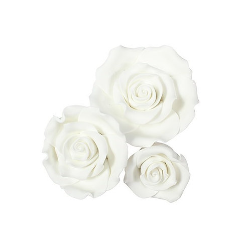 White Sugar Roses - Pack of 12 Assorted.