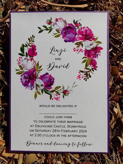 Purple Peony Wreath Wedding Invitation  -  Minimum Order 20 - INV22042301